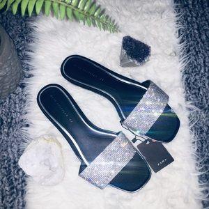 💎Zara rhinestone glitter slides flats sandals💎